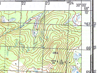 Reduced fragment of topographic map ru--gs--050k--r35-144-3_4--N068-10_E029-30--N068-00_E030-00