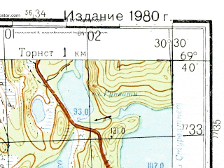 Reduced fragment of topographic map ru--gs--050k--r36-085-1_2--N069-40_E030-00--N069-30_E030-30; towns and cities Jarfjordbotn, Langfjorddalen