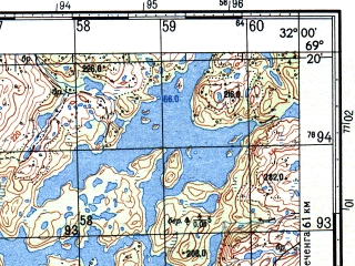 Reduced fragment of topographic map ru--gs--050k--r36-100-1_2--N069-20_E031-30--N069-10_E032-00