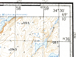 Reduced fragment of topographic map ru--gs--050k--r36-105-3_4--(1972)--N069-10_E034-00--N069-00_E034-30