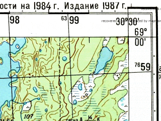 Reduced fragment of topographic map ru--gs--050k--r36-109-1_2--(1987)--N069-00_E030-00--N068-50_E030-30