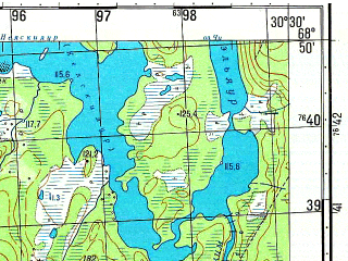 Reduced fragment of topographic map ru--gs--050k--r36-109-3_4--N068-50_E030-00--N068-40_E030-30