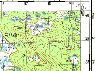 Reduced fragment of topographic map ru--gs--050k--r36-110-3_4--N068-50_E030-30--N068-40_E031-00