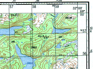 Reduced fragment of topographic map ru--gs--050k--r36-112-1_2--N069-00_E031-30--N068-50_E032-00