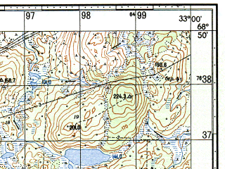 Reduced fragment of topographic map ru--gs--050k--r36-114-3_4--N068-50_E032-30--N068-40_E033-00; towns and cities Murmashi
