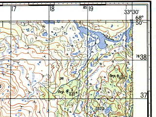 Reduced fragment of topographic map ru--gs--050k--r36-115-3_4--N068-50_E033-00--N068-40_E033-30; towns and cities Kil'dinstroy, Shonguy