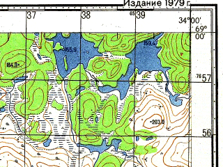Reduced fragment of topographic map ru--gs--050k--r36-116-1_2--N069-00_E033-30--N068-50_E034-00