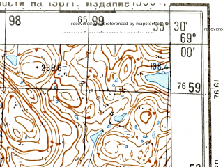 Reduced fragment of topographic map ru--gs--050k--r36-119-1_2--N069-00_E035-00--N068-50_E035-30