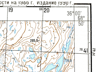 Reduced fragment of topographic map ru--gs--050k--r36-120-3_4--N068-50_E035-30--N068-40_E036-00