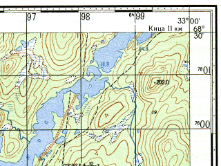 Reduced fragment of topographic map ru--gs--050k--r36-126-3_4--N068-30_E032-30--N068-20_E033-00
