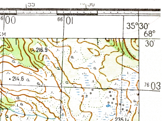 Reduced fragment of topographic map ru--gs--050k--r36-131-3_4--(1982)--N068-30_E035-00--N068-20_E035-30