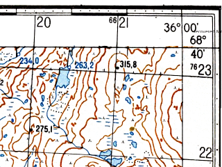 Reduced fragment of topographic map ru--gs--050k--r36-132-1_2--(1982)--N068-40_E035-30--N068-30_E036-00