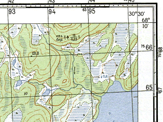 Reduced fragment of topographic map ru--gs--050k--r36-133-3_4--N068-10_E030-00--N068-00_E030-30