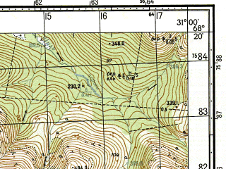 Reduced fragment of topographic map ru--gs--050k--r36-134-1_2--N068-20_E030-30--N068-10_E031-00