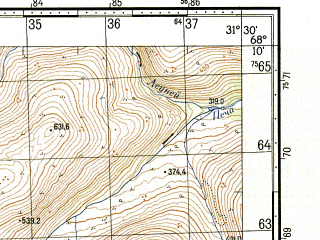 Reduced fragment of topographic map ru--gs--050k--r36-135-3_4--N068-10_E031-00--N068-00_E031-30