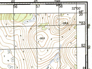 Reduced fragment of topographic map ru--gs--050k--r36-136-1_2--N068-20_E031-30--N068-10_E032-00