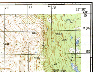 Reduced fragment of topographic map ru--gs--050k--r36-137-3_4--N068-10_E032-00--N068-00_E032-30