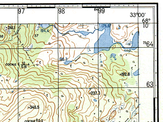 Reduced fragment of topographic map ru--gs--050k--r36-138-3_4--N068-10_E032-30--N068-00_E033-00