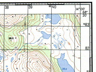 Reduced fragment of topographic map ru--gs--050k--r36-140-1_2--N068-20_E033-30--N068-10_E034-00