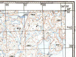Reduced fragment of topographic map ru--gs--050k--r37-109-3_4--N068-50_E036-00--N068-40_E036-30