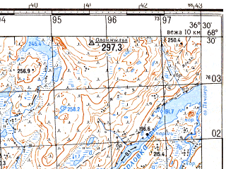 Reduced fragment of topographic map ru--gs--050k--r37-121-3_4--N068-30_E036-00--N068-20_E036-30