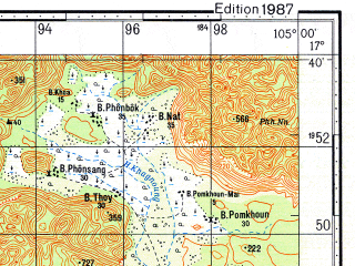 Reduced fragment of topographic map ru--gs--100k--e48-090--N017-40_E104-30--N017-20_E105-00; towns and cities Ban Na Pho, Ban Nakok