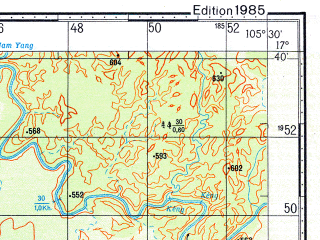 Reduced fragment of topographic map ru--gs--100k--e48-091--N017-40_E105-00--N017-20_E105-30
