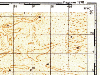 Reduced fragment of topographic map ru--gs--100k--f39-018--N023-40_E050-30--N023-20_E051-00