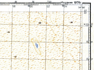 Reduced fragment of topographic map ru--gs--100k--f39-024--N023-40_E053-30--N023-20_E054-00; towns and cities Jarbub, Qatar, Al Hujaymah