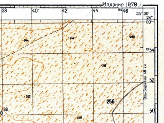Reduced fragment of topographic map ru--gs--100k--f40-003--N024-00_E055-00--N023-40_E055-30