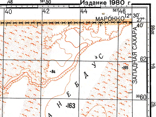Reduced fragment of topographic map ru--gs--100k--g28-023--N027-40_W013-00--N027-20_W012-30