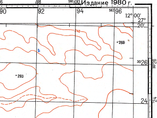 Reduced fragment of topographic map ru--gs--100k--g28-036--N027-20_W012-30--N027-00_W012-00