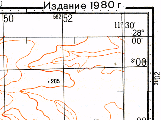 Reduced fragment of topographic map ru--gs--100k--g29-001--N028-00_W012-00--N027-40_W011-30