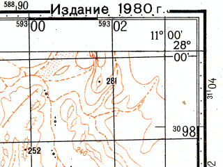 Reduced fragment of topographic map ru--gs--100k--g29-002--N028-00_W011-30--N027-40_W011-00