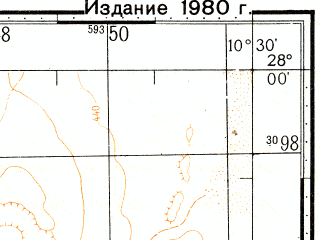 Reduced fragment of topographic map ru--gs--100k--g29-003--N028-00_W011-00--N027-40_W010-30