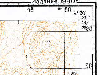 Reduced fragment of topographic map ru--gs--100k--g29-005--N028-00_W010-00--N027-40_W009-30