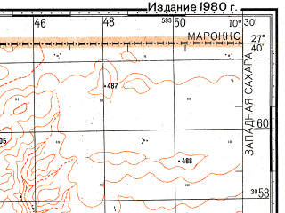 Reduced fragment of topographic map ru--gs--100k--g29-015--N027-40_W011-00--N027-20_W010-30