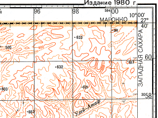 Reduced fragment of topographic map ru--gs--100k--g29-016--N027-40_W010-30--N027-20_W010-00