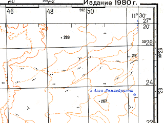 Reduced fragment of topographic map ru--gs--100k--g29-025--N027-20_W012-00--N027-00_W011-30