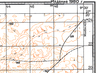 Reduced fragment of topographic map ru--gs--100k--g29-029--N027-20_W010-00--N027-00_W009-30
