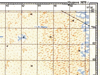 Reduced fragment of topographic map ru--gs--100k--g39-115--N025-00_E051-00--N024-40_E051-30; towns and cities Al Kharrarah, Mazra At Turayna