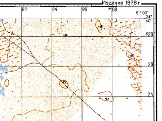 Reduced fragment of topographic map ru--gs--100k--g39-126--N024-40_E050-30--N024-20_E051-00