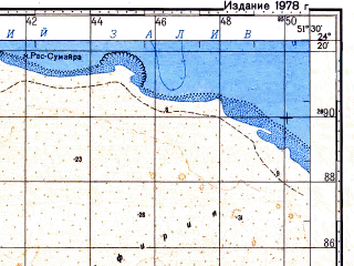 Reduced fragment of topographic map ru--gs--100k--g39-139--N024-20_E051-00--N024-00_E051-30