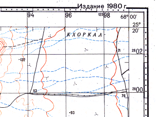 Reduced fragment of topographic map ru--gs--100k--g42-100--N025-20_E067-30--N025-00_E068-00; towns and cities Kalu Khuar, Sari Sing