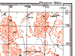 Reduced fragment of topographic map ru--gs--100k--g42-118--N025-00_E070-30--N024-40_E071-00; towns and cities Chotal