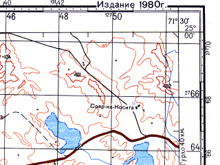 Reduced fragment of topographic map ru--gs--100k--g42-119--N025-00_E071-00--N024-40_E071-30; towns and cities Bhawatra, Sami Ji Veri