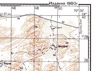Reduced fragment of topographic map ru--gs--100k--g42-129--N024-40_E070-00--N024-20_E070-30
