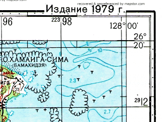 Reduced fragment of topographic map ru--gs--100k--g52-064--N026-20_E127-30--N026-00_E128-00; towns and cities Naha, Nakaza