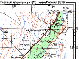 Reduced fragment of topographic map ru--gs--100k--h29-036--N031-20_W006-30--N031-00_W006-00; towns and cities Iaarabene, Tmaho