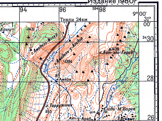 Reduced fragment of topographic map ru--gs--100k--h29-042--N031-00_W009-30--N030-40_W009-00; towns and cities Imouzzer Des Ida Ou Tanae, Khemis De Biaoudine
